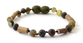 Barnsteen armbandje volwassenen olive met hazelwood, draaisluiting