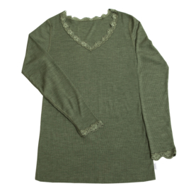 Joha wolzijden dameslongsleeve groen met kant