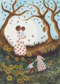 Bijdehansje - Ansichtkaart Zonnebloemen