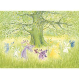 Ansichtkaart elfenkinderen om de boom