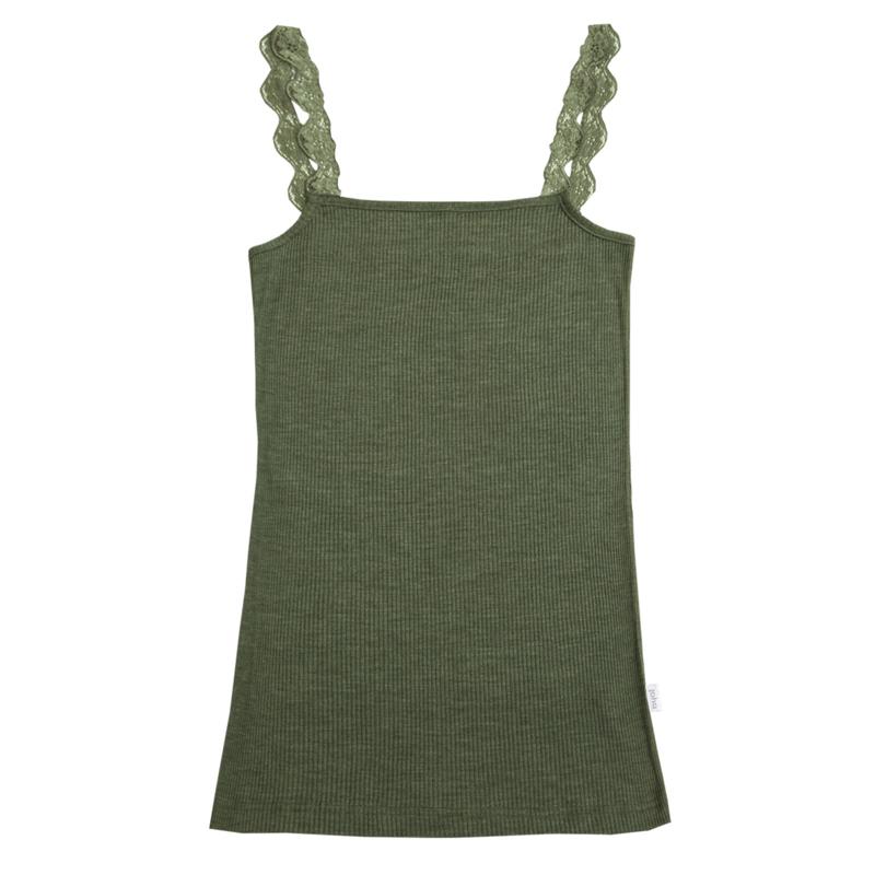 Joha wolzijden dameshemd groen met kant