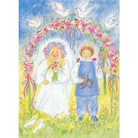 Marjan van Zeyl - Ansichtkaart Pinksterbruid en bruidegom