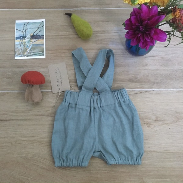 Simply Grey Kids linnen bubble shorts met bretels dusty aqua