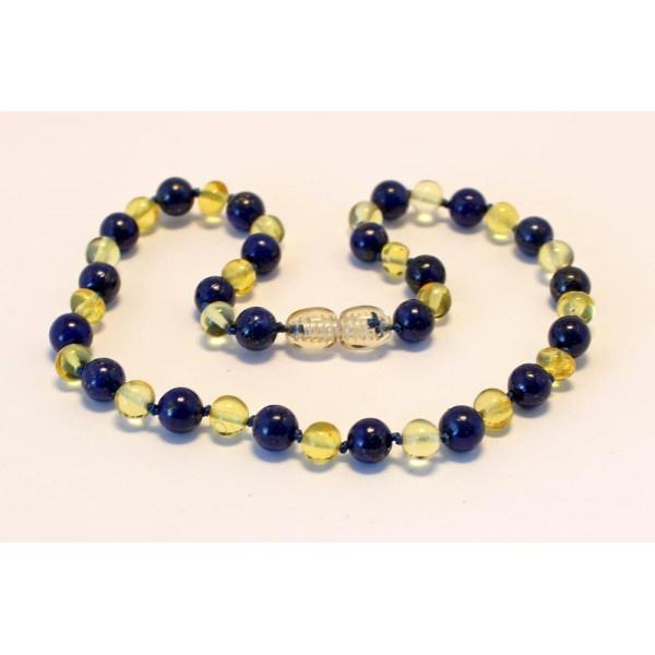 Barnsteenketting baby/peuter lemon met lapis lazuli