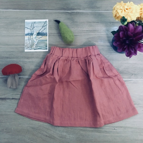 Simply Grey Kids linnen rok salmon rose