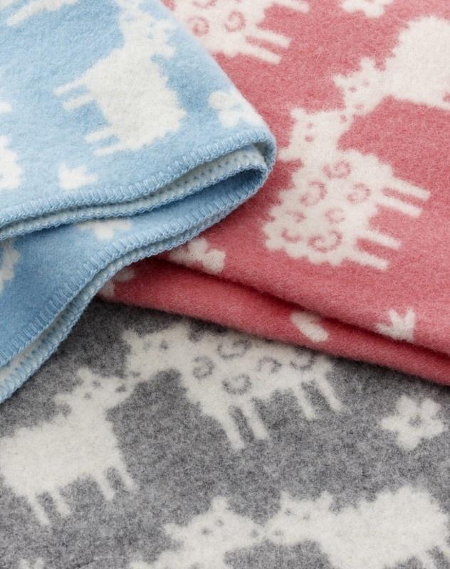 Klippan eco-wol wiegdeken Schaapjes roze en blauw