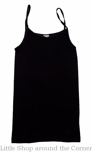 Cosilana wolzijden dameshemdje met spaghettibandjes zwart