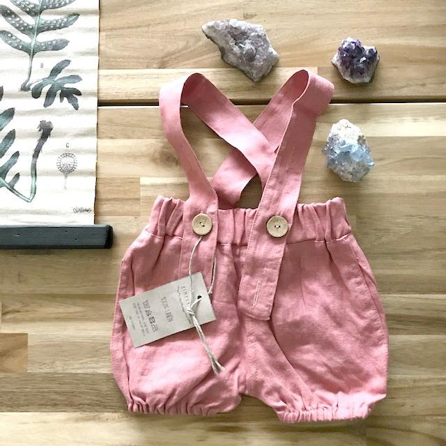 Simply Grey Kids linnen bubble shorts met bretels salmon rose, 7-8 jaar