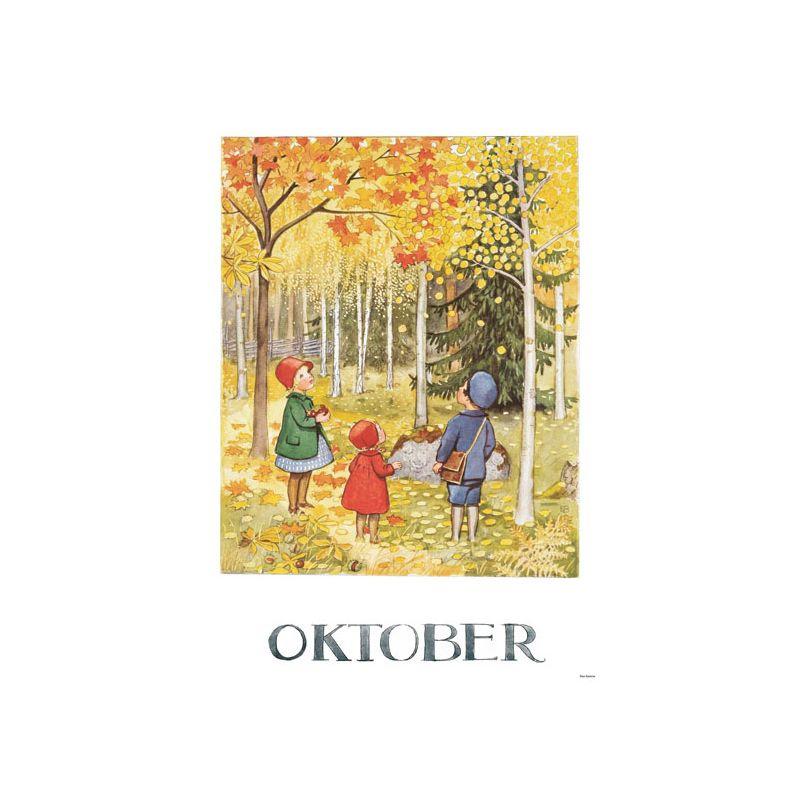 Elsa Beskow Ansichtkaart maand Oktober