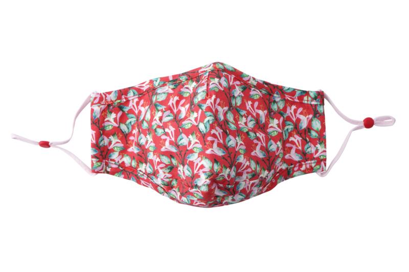 Dotcom - katoenen mondkapje wasbaar floral rood