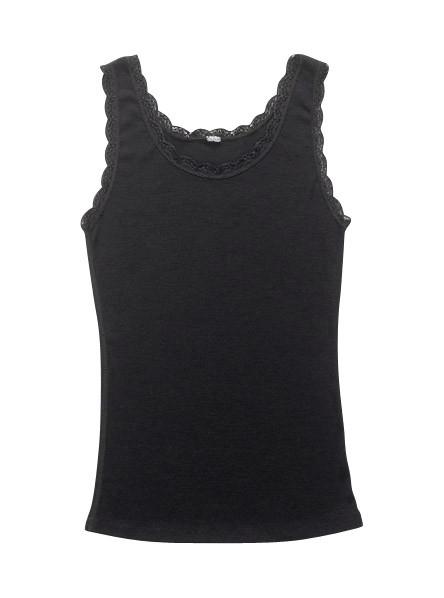 Joha wollen dameshemd zwart met kant