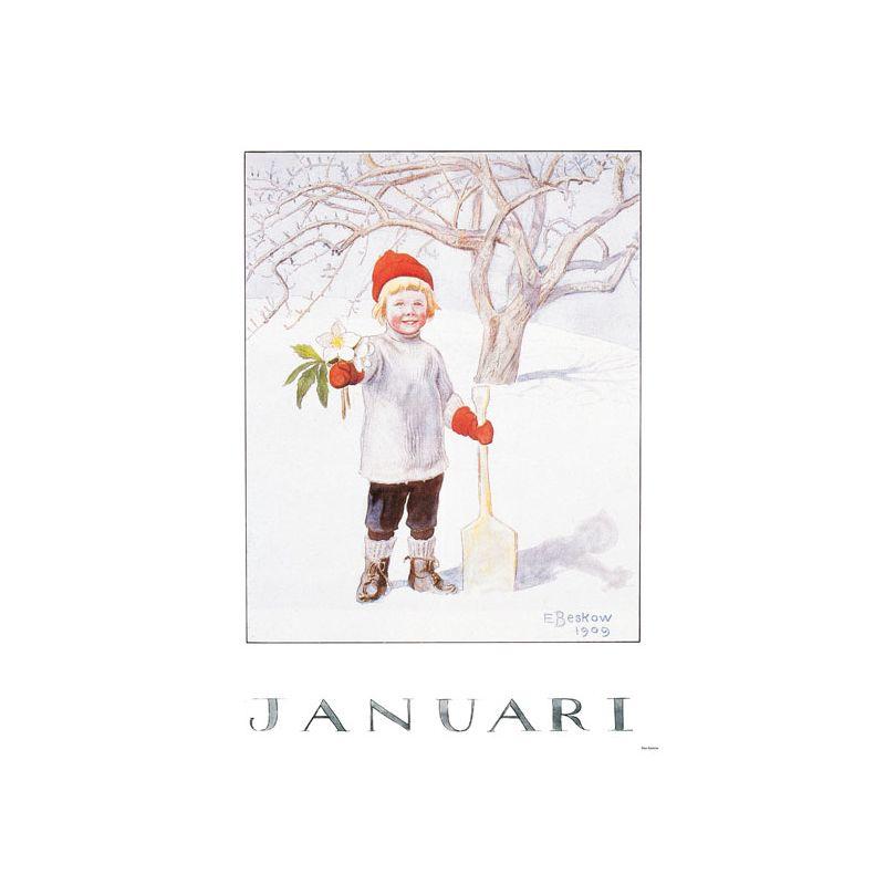 Elsa Beskow Ansichtkaart maand Januari