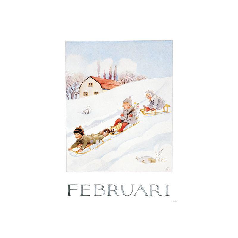 Elsa Beskow Ansichtkaart maand Februari