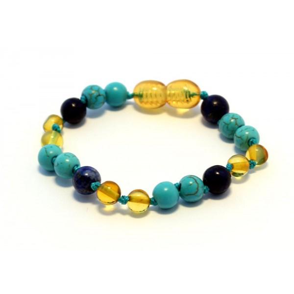 Barnsteen armbandje baby/peuter honey met lapis lazuli en turquoise