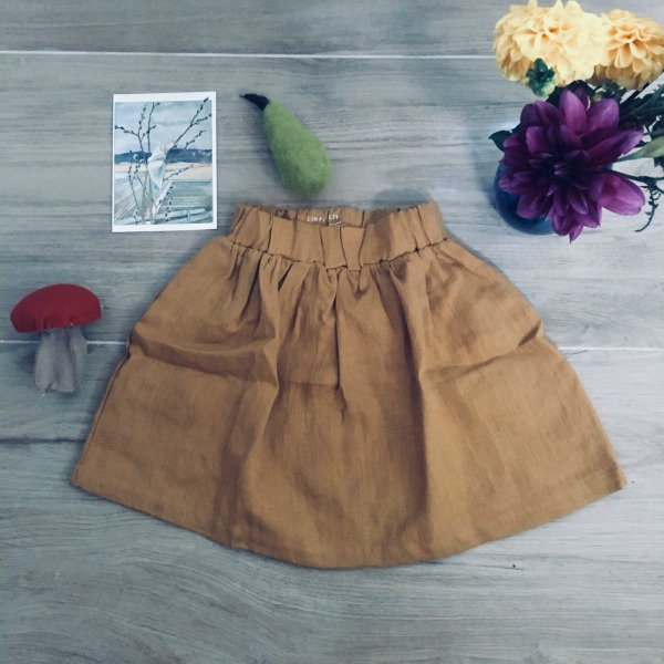 Simply Grey Kids linnen rok ochre