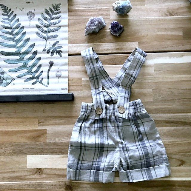 Simply Grey Kids linnen salopet shorts vintage checks