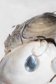 A&C Collier Glass Drop Blue 45 cm