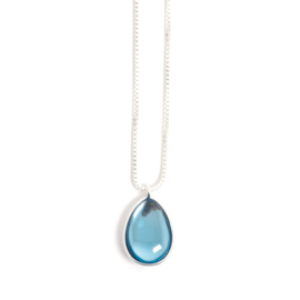 A&C Collier Glass Drop Blue 45 cm