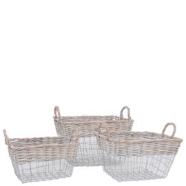 Manden set van 3 rattan manden met metaal