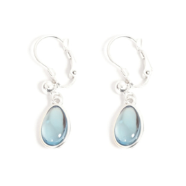A&C Oorbel, french clip, Glass Drop Blue