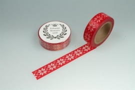 Washitape rood met witte kerstster