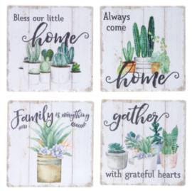 Onderzetters Planten met tekst