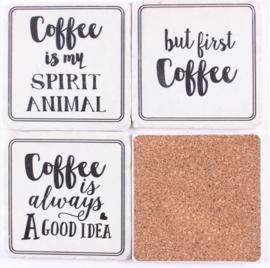 Onderzetters coffee teksten (wit)