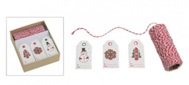 Doosje cadeaulabel set, touw met 30 labels (W10)