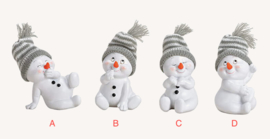 Sneeuwman zittend, grijs, 4 ass. (W)