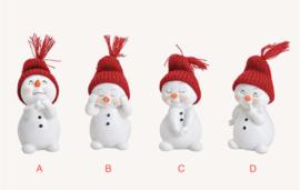 Sneeuwman met rode muts, 4 ass. (W7)