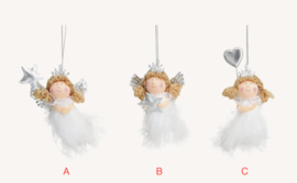Fluffy engel, hangend, wit, 3 ass. (W)