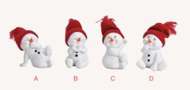 Sneeuwman zittend, rood, 4 ass. (W)