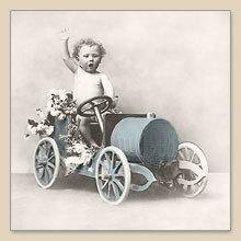 Servet jongen in auto, 33x33 cm, nr. 2087
