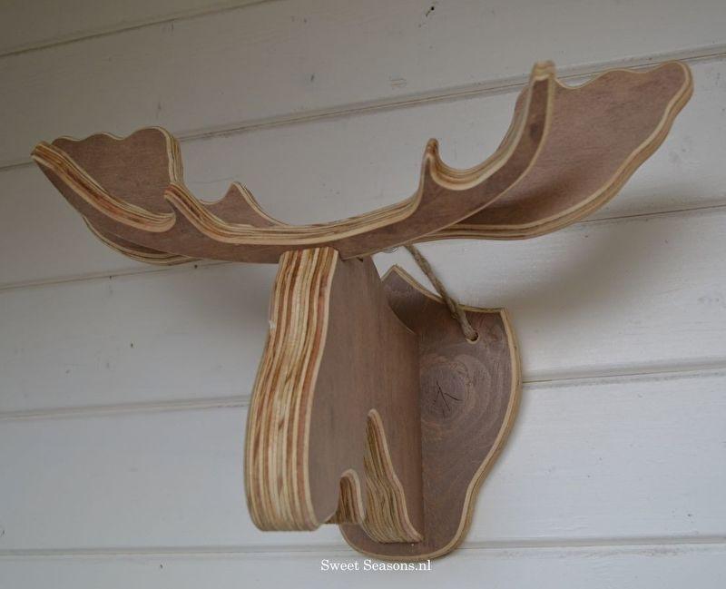 Stoere houten elanden kop, bruin (klein)