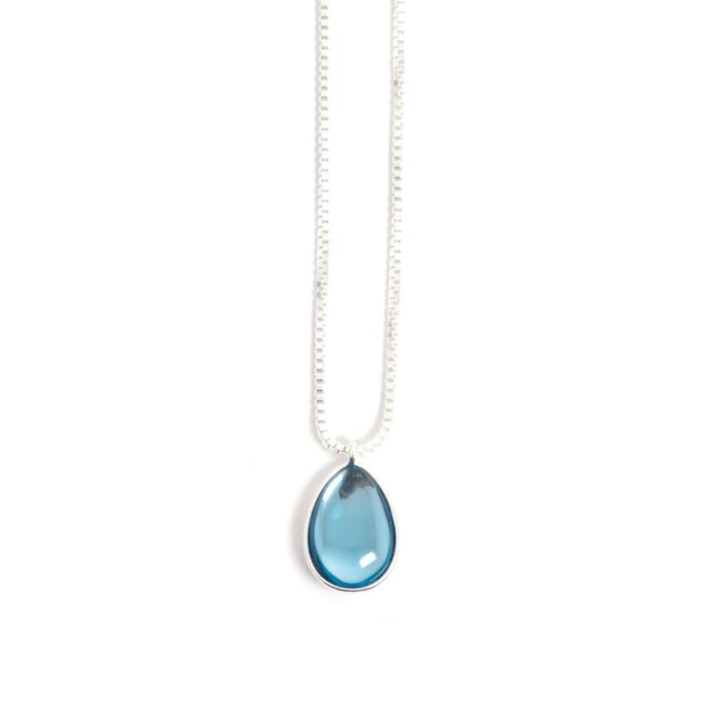 A&C Collier Glass Drop Blue 42,5 cm