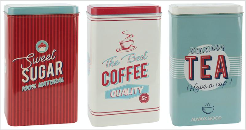 Metalen retro blikken Coffee, Tea, Sugar
