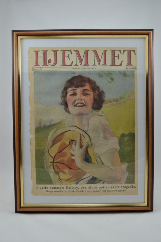 Schilderij Hjemmet: jongedame met hoed