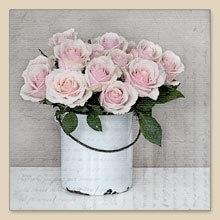 Servet emmer met rozen, 33x33 cm, nr. 80000