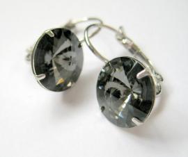 """OR-0236 Oorhangers """"Kristal"""" Black Diamond"""