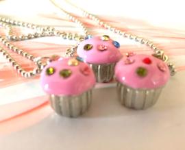 HK-0216 Ketting Cupcake Zilver/roze Strass