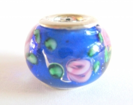 PG-0181  Kraal Blauw /roze bloem