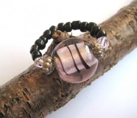 R-0039  Ring Roze Zwart