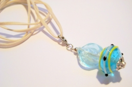 MH-0019 Ketting Glashanger Wit/ blauw