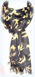 S-0106 Shawl Zwart/beige