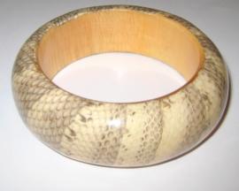 A-0206  Armband Hout Snake-print