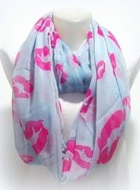 S-0369 Shawl Zachtgrijsblauw Pink