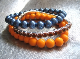 A-0381 Armband Blauw Oranje
