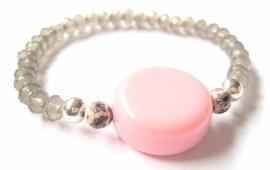 A-0455 Armbandje Roze Grijs