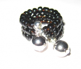 R-0058 Ring zwart/zilver