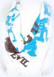 S-0098 Shawl Wit/blauw